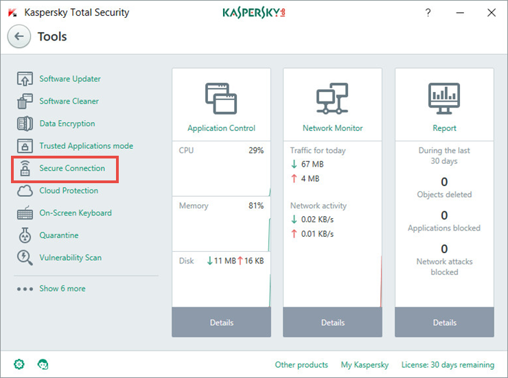 Image: the Tools window of Kaspersky Total Security 2018