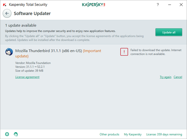How to update installed applications through Kaspersky Total