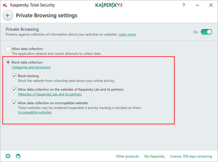 Image: the Private Browsing settings window of Kaspersky Total Security