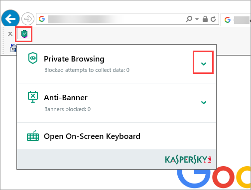 Image: Kaspersky Protection plug-in in Internet Explorer browser