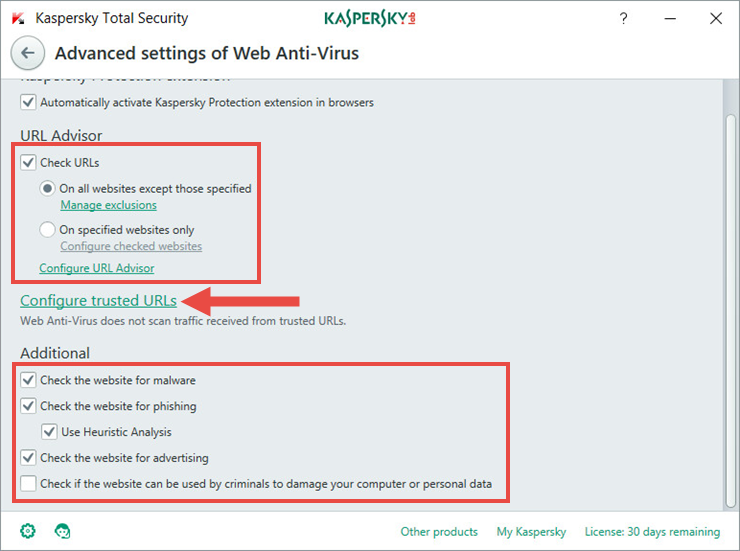Image: advanced Web Anti-Virus settings in Kaspersky Total Security 2018