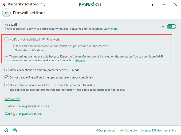 Image: Firewall settings in Kaspersky Total Security