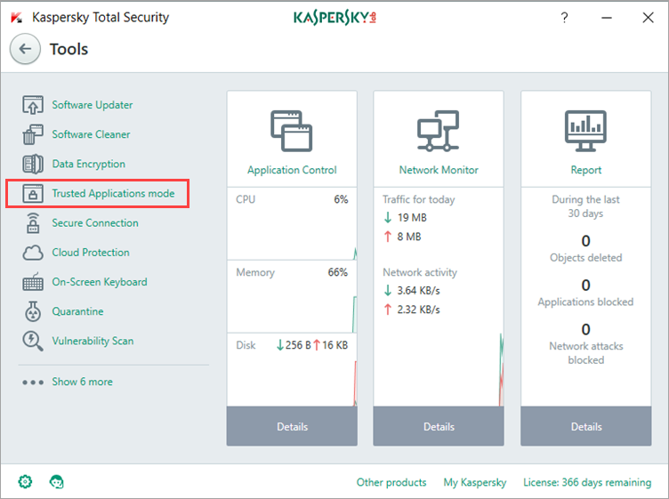 Image: Kaspersky Total Security Tools window