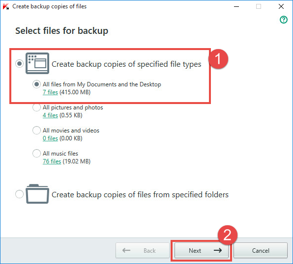 Image: selecting file types
