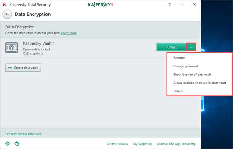 Image: changing the vault settings in Kaspersky Total Security