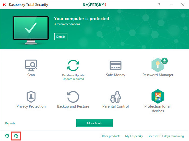 The main window of Kaspersky Total Security 2018