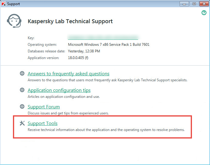 The Support window of Kaspersky Total Security 2018