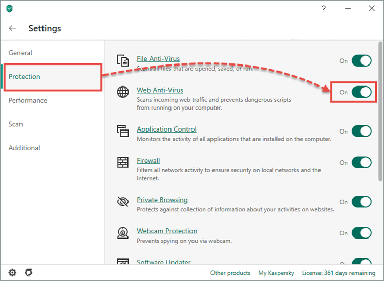 Enabling System Watcher in Kaspersky Security Cloud 20