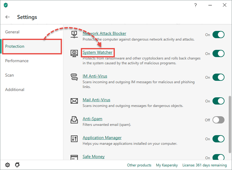 Opening the System Watcher settings window of Kaspersky Security Cloud 20