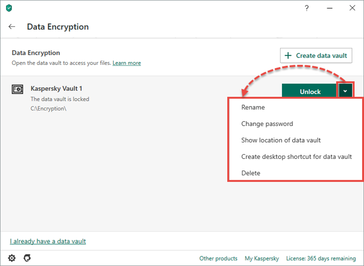 Adding a data vault in Kaspersky Total Security 20