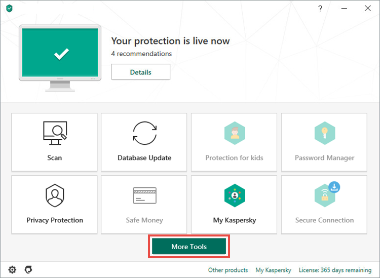 Opening the Tools window in Kaspersky Total Security 20