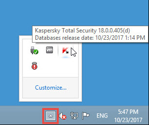 Image: the Kaspersky Total Security 2018 in the notification area of Desktop