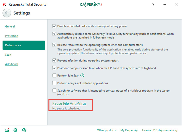Image: Kaspersky Total Security Settings window
