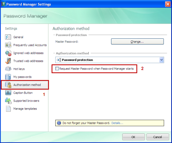 How to change authorization method in Password Manager from