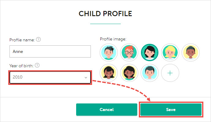 The child's profile in My Kaspersky.