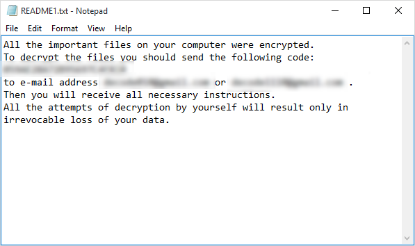 Example of the readme.txt file for the ShadeDecryptor tool