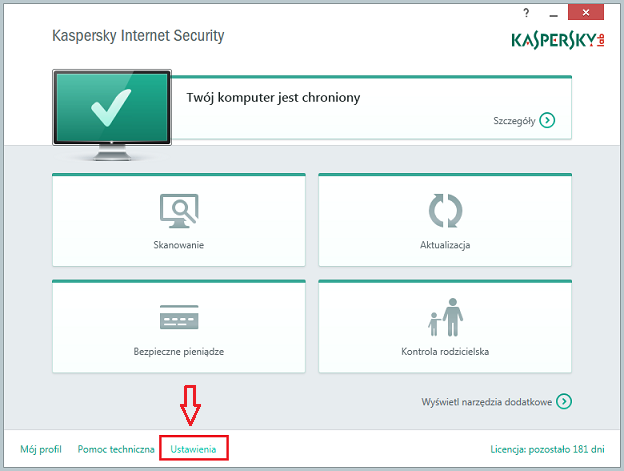 In the main window of Kaspersky Internet Security 2015, click Settings