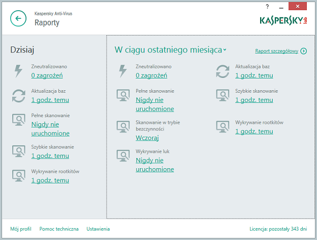 Okno Raporty w Kaspersky Anti-Virus 2015