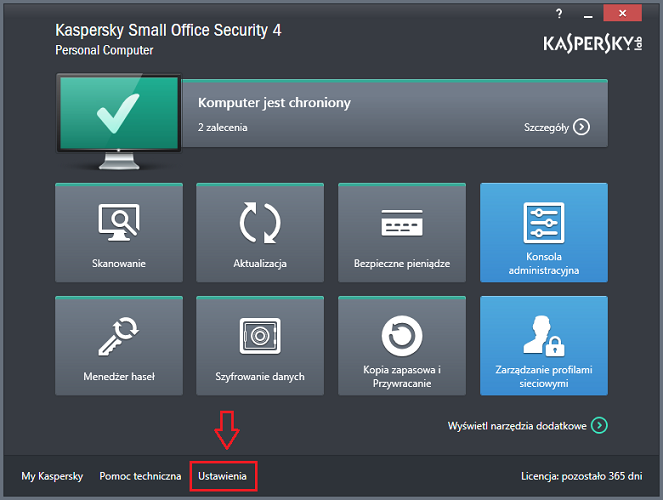 Otwórz Ustawienia w Kaspersky Small Office Security 4 for PC.