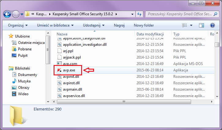Aby otworzyć Kaspersky Small Office Security 4 for PC, otwórz Eksploratora Windows i znajdź plik avp.exe w folderze Kaspersky Small Office Security 15.0.2.