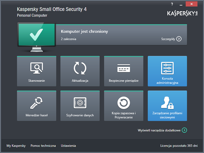 Program Kaspersky Small Office Security 4 for Personal Computer jest teraz uruchomiony