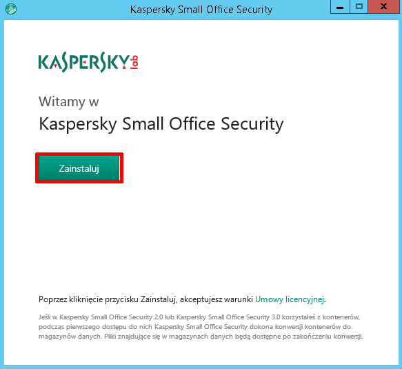 Instalacja Kaspersky Small Office Security