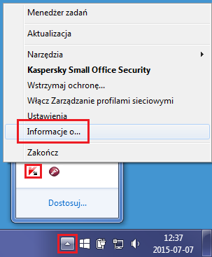 Otwórz okno Informacje o.. dla Kaspersky Small Office Security 4 for PC.