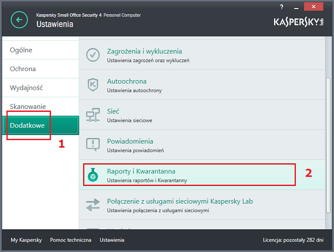 Otwórz okno Ustawienia Raportów i Kwarantanny w Kaspersky Small Office Security 4 for PC