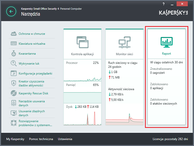 Otwórz Raporty w Kaspersky Small Office Security 4 for PC