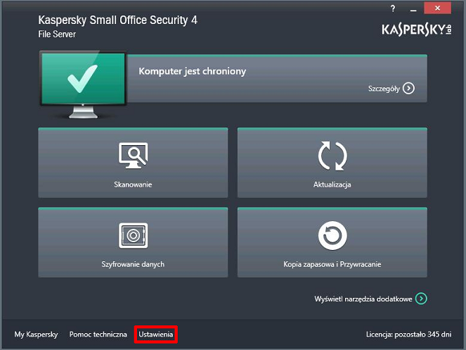Otwórz okno Ustawienia w Kaspersky Small Office Security 4 for File Server.