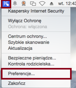 Screenshot: open Preferences in Kaspersky Internet Security 16 for Mac from the OS X menu bar