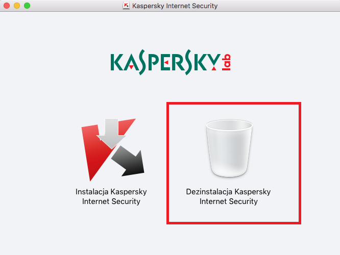 Zrzut ekranu: Dezinstalacja Kaspersky Internet Security 16 for Mac