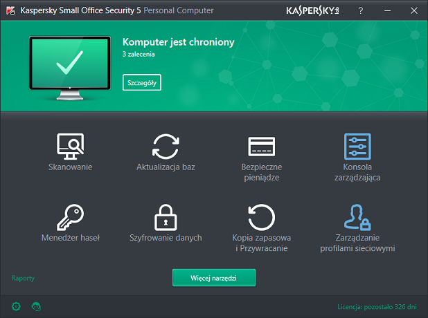 Okno główne Kaspersky Small Office Security 5