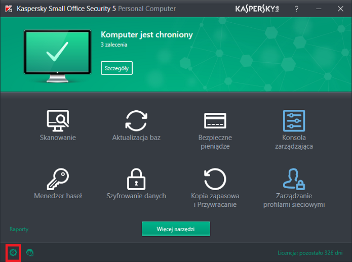 Obrazek: Okno programu Kaspersky Small Office Security 5 for Personal Computer