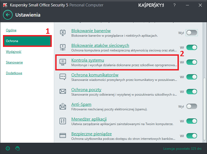 Obrazek: Okno Ustawienia w Kaspersky Small Office Security 5 for PC