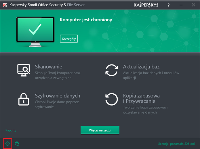 Obrazek: Okno główne Kaspersky Small Office Security 5