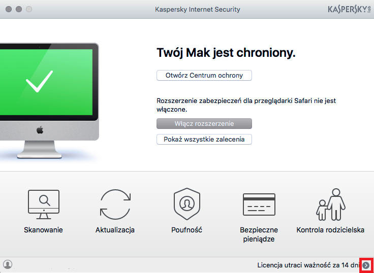 Obrazek: Okno główne Kaspersky Internet Security 18 for Mac