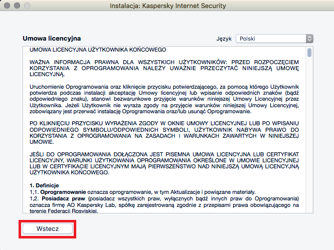 Obrazek: Okno Umowa licencyjna programu Kaspersky Internet Security 18 for Mac