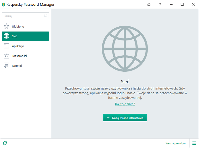 Obrazek: Okno Kaspersky Password Manager