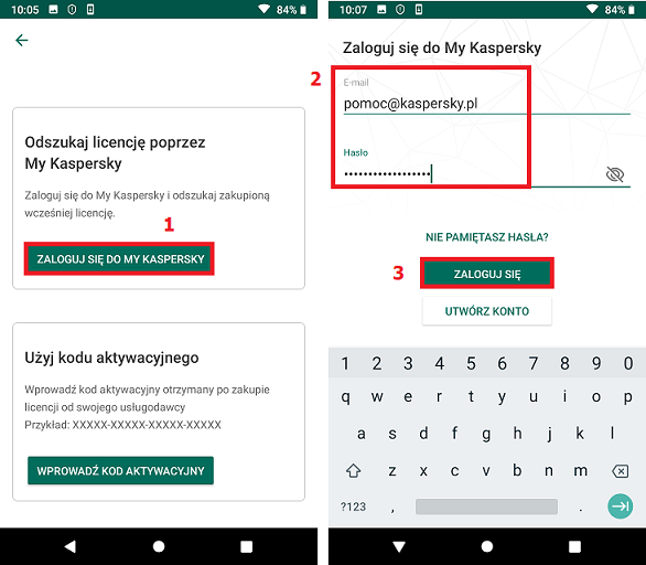 Podłączanie Kaspersky Internet Security for Android do My Kaspersky