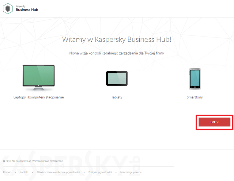 Obrazek: Strona powitalna Kaspersky Security for Microsoft Office 365