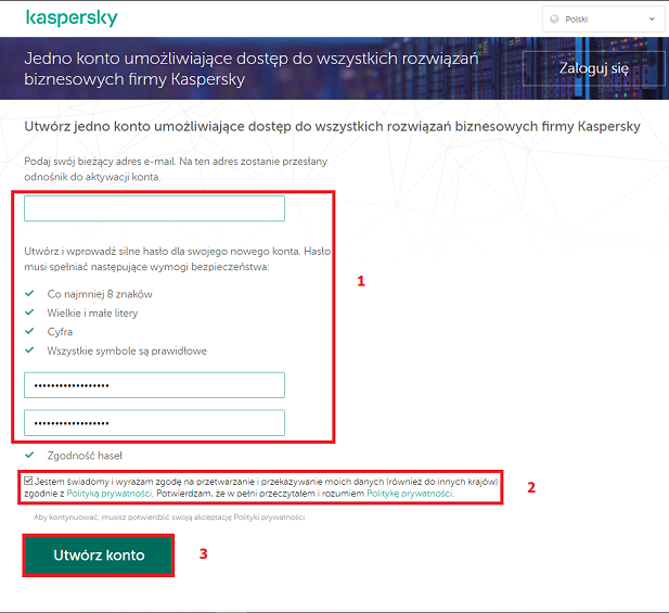 Okno tworzenia konta w Kaspersky Endpoint Security Cloud