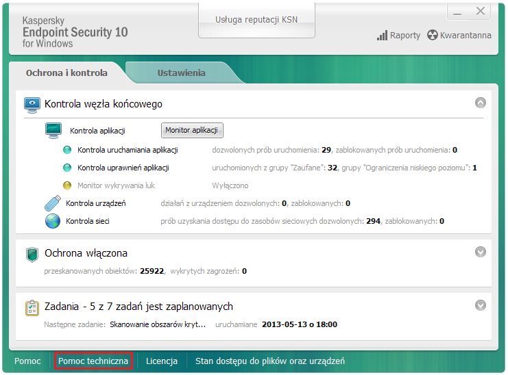 Okno główne Kaspersky Endpoint Security 10 for Windows.