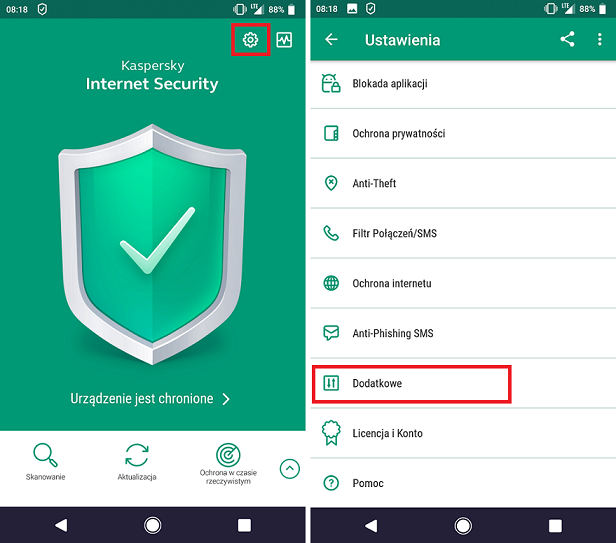 Ustawienia Kaspersky Internet Security for Android