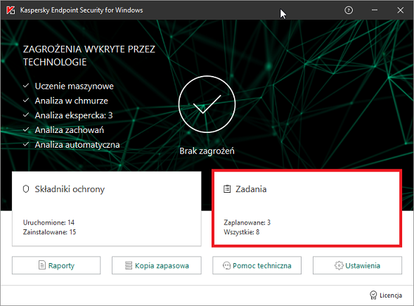 Otwieranie zadań w Kaspersky Endpoint Security 11 for Windows