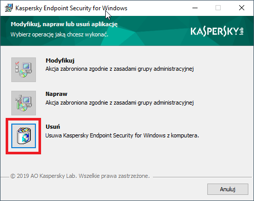 Usuwanie Kaspersky Endpoint Security 11.x for Windows