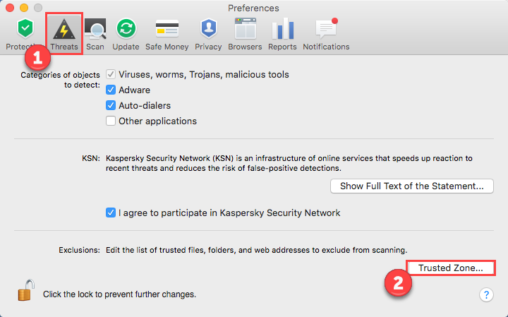 Obrazek: Okno Preferencje w Kaspersky Internet Security 16 for Mac