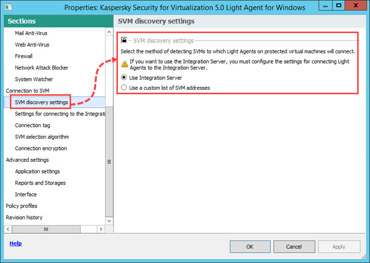 Ustawienia w sekcji Connection to SVM profilu Light Agent w Kaspersky Security for Virtualization 5.0