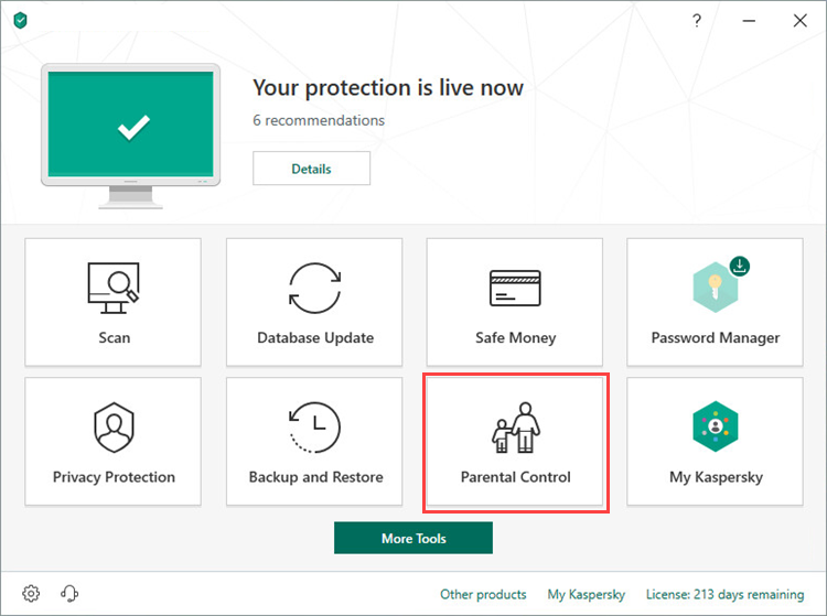Opening Parental Control in Kaspersky Total Security 19