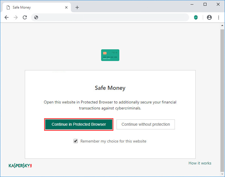 Opening a website in Protected Browser in Kaspersky Security Cloud 20